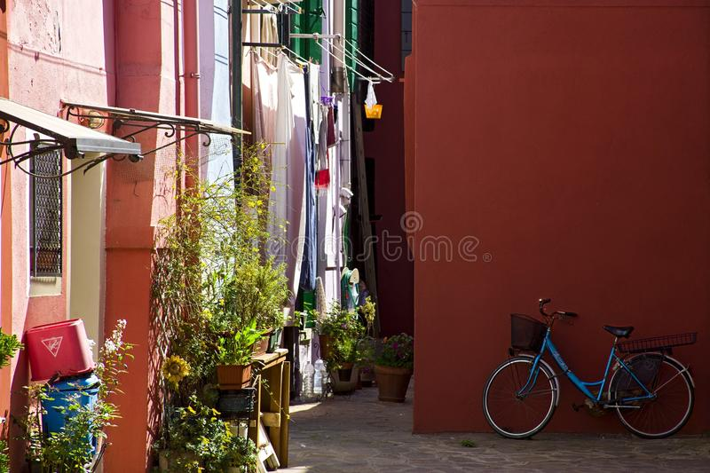 podwórze na wyspie Burano obraz stock
