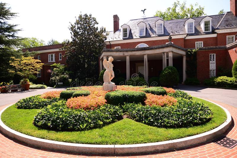 Podwórze przy nieruchomością, muzeum i ogródami Hillwood, zdjęcia stock
