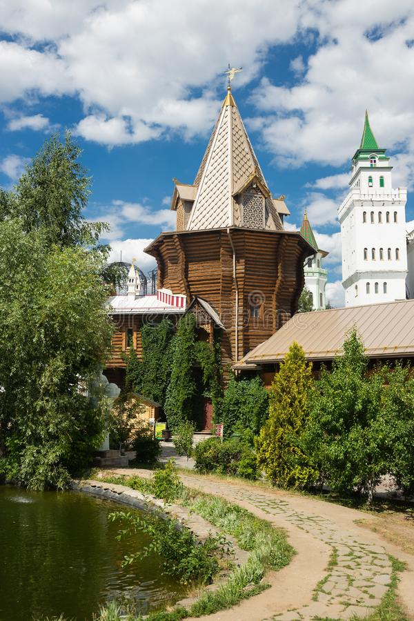 Podwórze w Izmaylovsky Kremlin w Moskwa Tradycyjny rosjanin obraz stock