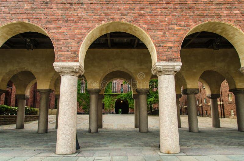 Podwórze w Sztokholm urząd miasta Stadshuset, Szwecja zdjęcie stock