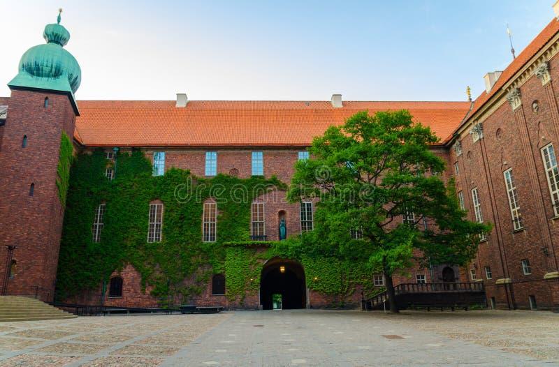 Podwórze w Sztokholm urząd miasta Stadshuset, Szwecja obrazy stock
