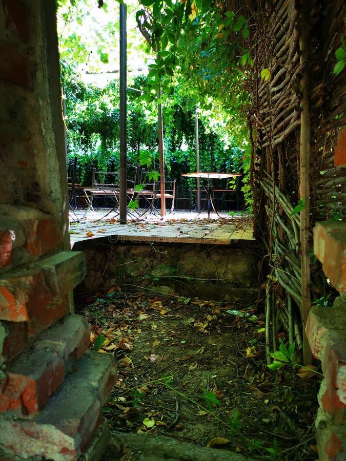 Podwórzowy widok przez łamanej ściany obraz stock