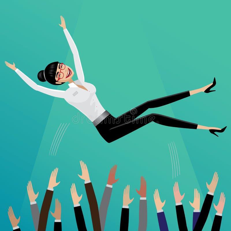 Podwładni podrzucają w górę biznesowej kobiety ilustracja wektor