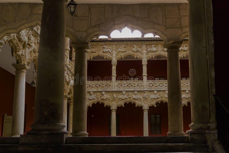 Podw?rze lwy Pałac Infantado Guadalajara, Hiszpania fotografia stock