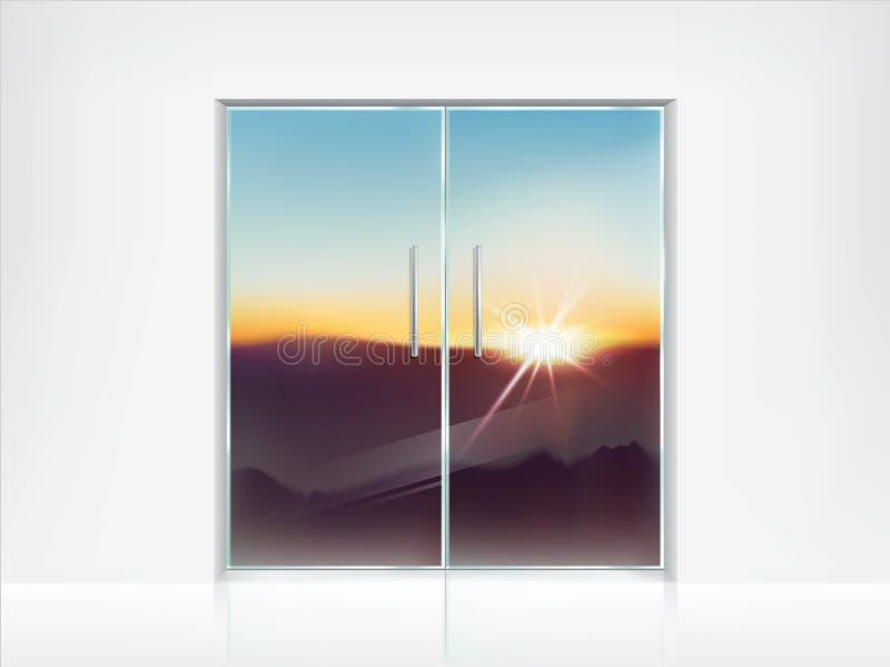 Podwaja zamkniętych szklanych drzwi i widok za one ilustracji