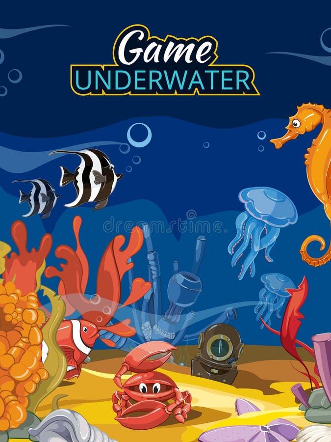 Podwodna światowa gra komputerowa Wektoru ekran wewnątrz royalty ilustracja