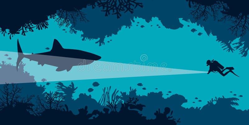 Podwodna jama, akwalungu nurek, rekin, koral, ryba, morze royalty ilustracja