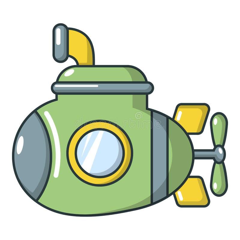 Podwodna militarna ikona, kreskówka styl ilustracja wektor