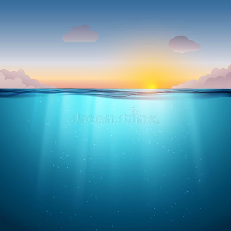 Podwodna ocean powierzchnia Błękitne wody zmierzch i tło Czyści natury dennego podwodnego tło z niebem royalty ilustracja