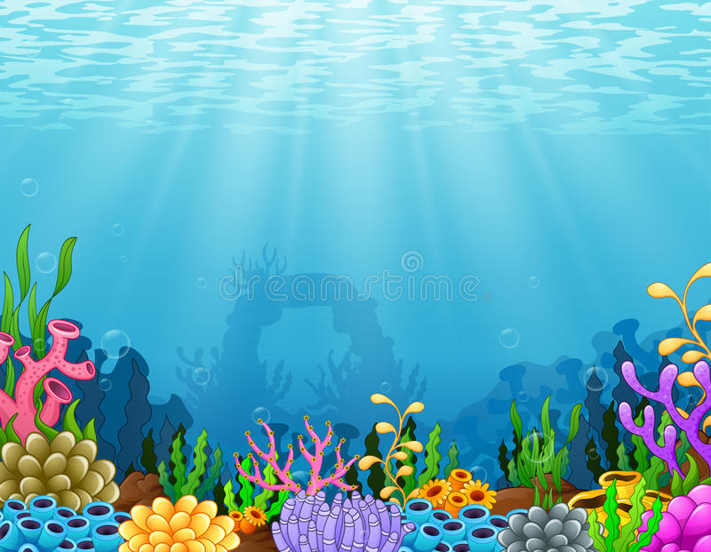 Podwodna scena z tropikalną rafą koralowa royalty ilustracja