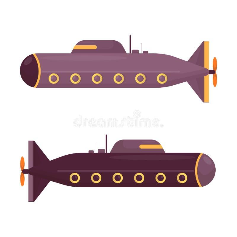 Podwodna wektorowa denna pigboat, żołnierz piechoty morskiej żaglówka podwodna lub ilustracja wektor