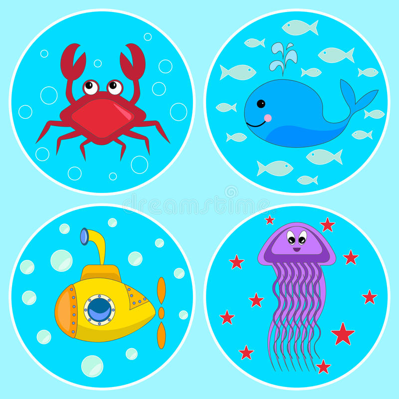 Podwodne ikony ilustracji