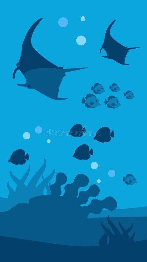 Podwodnego Światowego sztandaru Seascape Płaska panorama royalty ilustracja