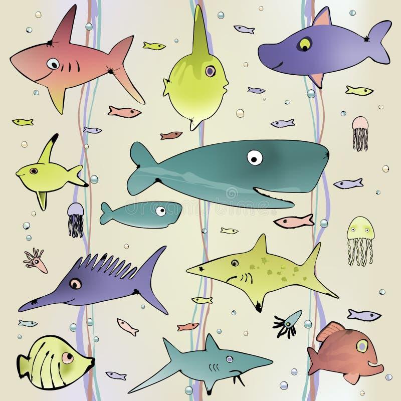 Podwodnego życia bezszwowy tło ilustracji
