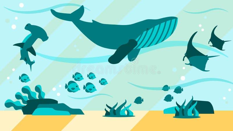 Podwodnego seledynu życia Płaski Abstrakcjonistyczny sztandar ilustracja wektor