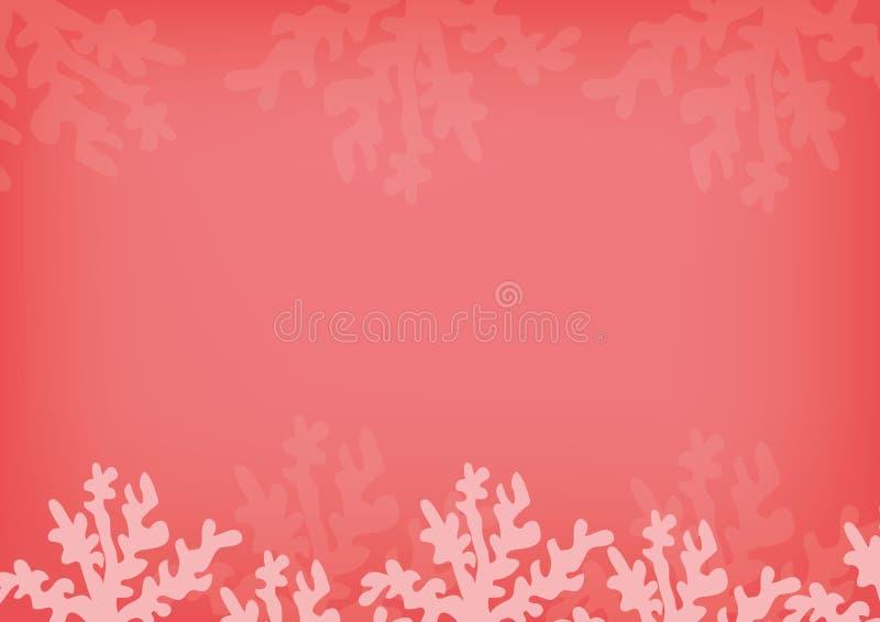 Podwodnej kreskówki płaski tło z rybią sylwetką, piasek, gałęzatka, koral Oceanu denny życie, śliczny projekt wektor royalty ilustracja