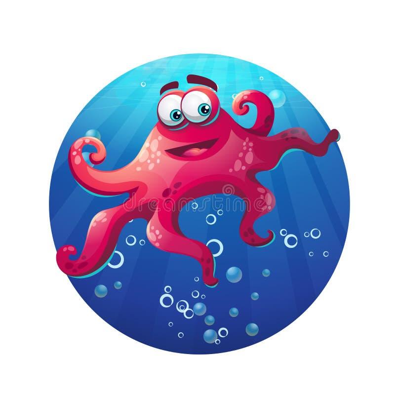 Podwodnej kreskówki komiczna ośmiornica w oceanie royalty ilustracja