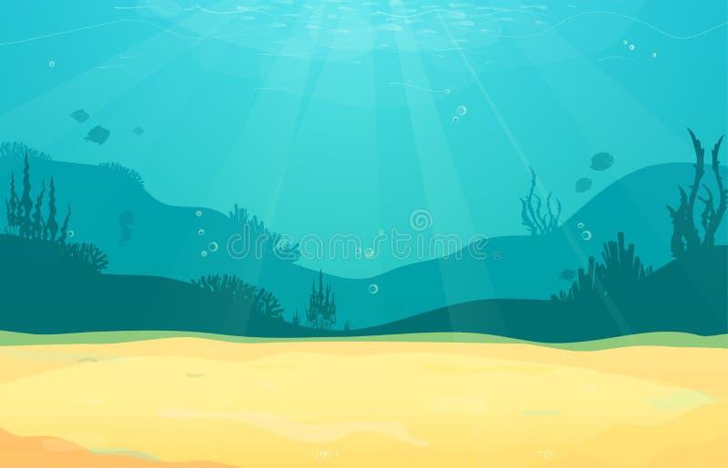 Podwodnej kreskówki płaski tło z rybią sylwetką, piasek, gałęzatka, koral Oceanu denny życie, śliczny projekt royalty ilustracja