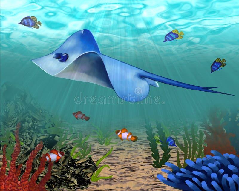 Podwodni zwierzęta w głębiach denne głębie ilustracja wektor