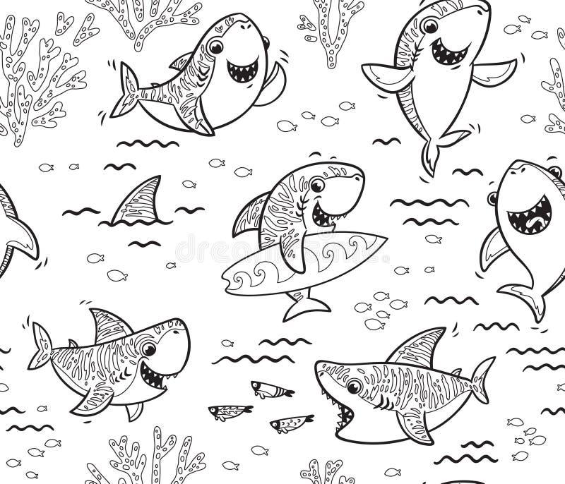 Podwodny świat z śmiesznymi rekinami Wektorowy konturu tło ilustracji