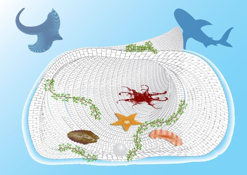 Podwodny światowy abstrakcjonistyczny tło ilustracja wektor