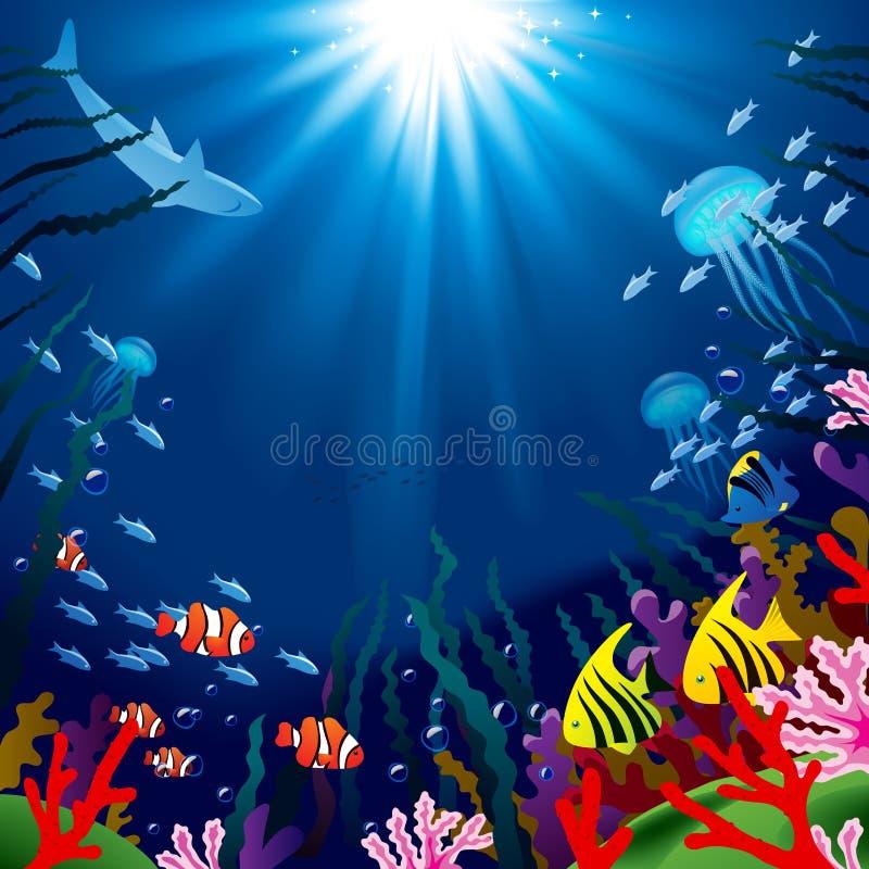 Podwodny światu kwadrata tło tropikalny morze ilustracja wektor