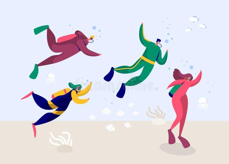 Podwodny akwalungu nurka kobiety i mężczyzny pikowanie w morzu Ludzie Głębokiego nura z wyposażeń Flippers gogle i Tlenowym Wetsu ilustracji