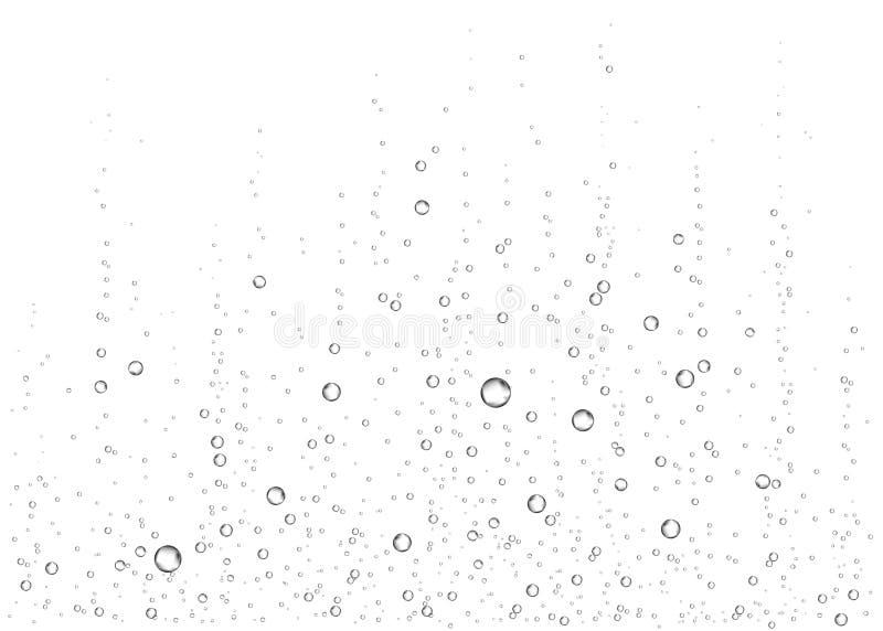 Podwodny fizzing powietrze, woda lub tlen, gulgoczemy ilustracja wektor