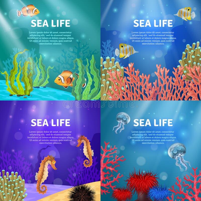 Podwodny krajobrazu set ilustracja wektor