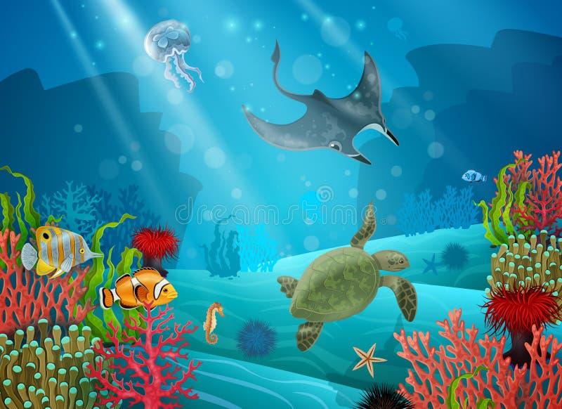 Podwodny kreskówka krajobraz ilustracji