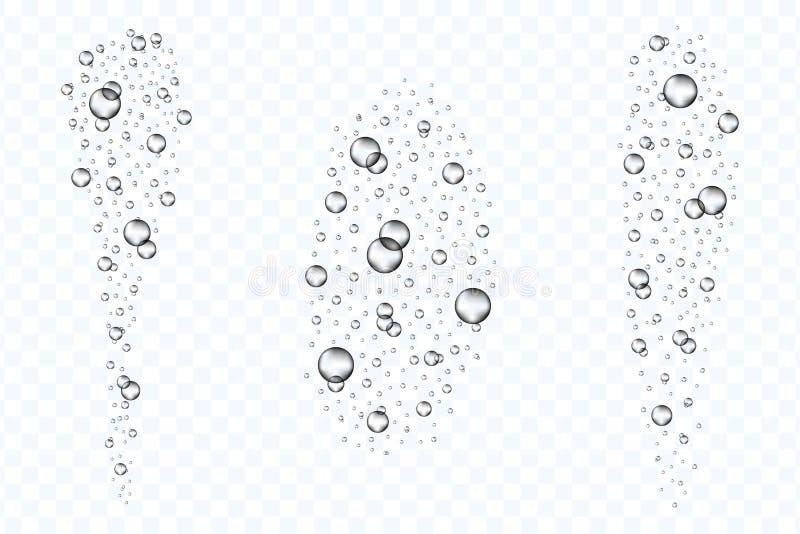 Podwodny lotniczych bąbli przepływ ustawia odosobnionego na przejrzystym tle Realistyczny fizzing tlen gulgocze pod wodą ilustracji