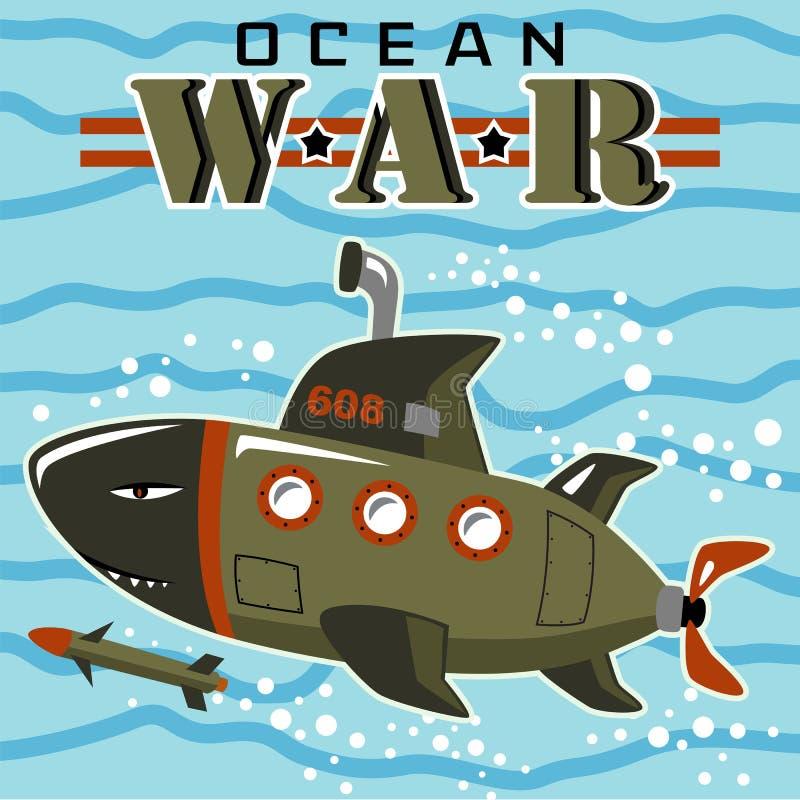 Podwodny militarny podwodny kreskówka wektor ilustracja wektor