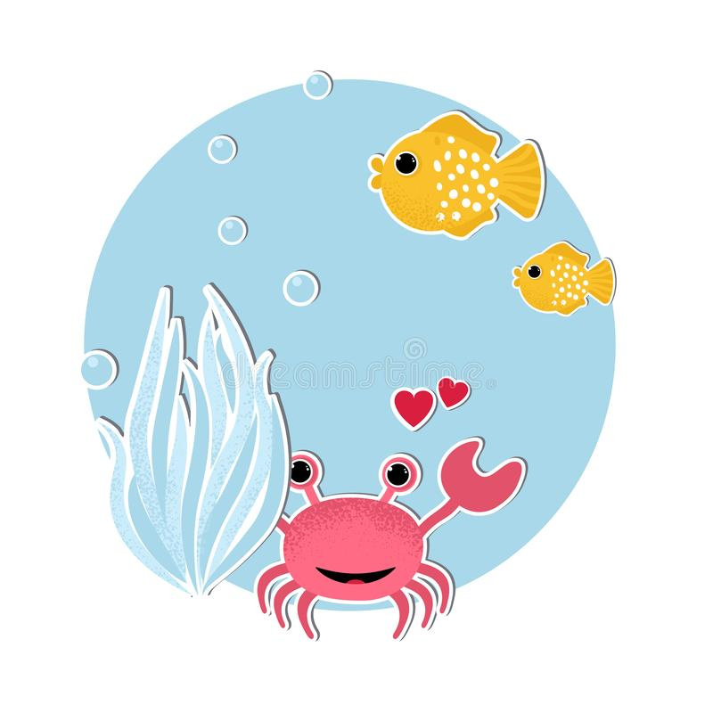 Podwodny sztandar z rybami, ilustracji