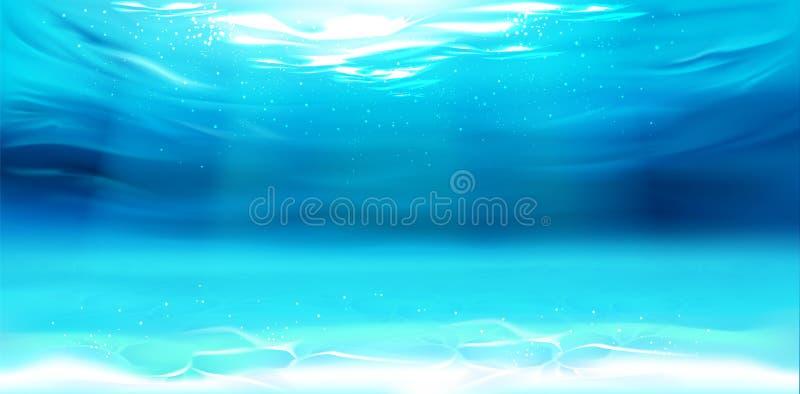 Podwodny tło, wody powierzchnia, ocean, morze ilustracji