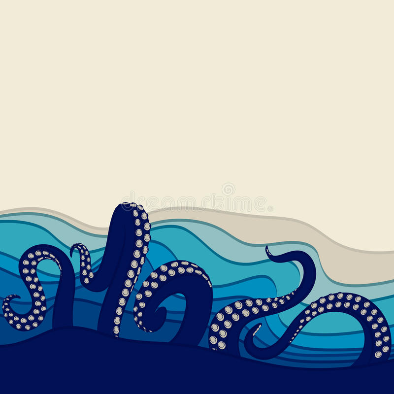 Podwodny tło z ośmiornica czułkami Wektorowa ilustracja z przestrzenią dla teksta royalty ilustracja