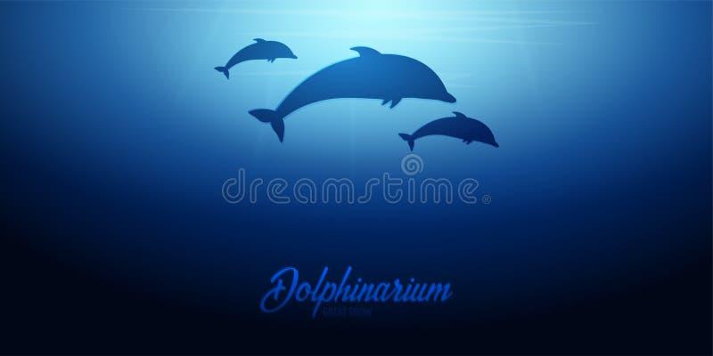 Podwodny tło z słońce promieniami i sylwetką delfin Głębokiego oceanu sztandar kolor plażowej dziewczyny ilustracyjny magazyn czy ilustracja wektor