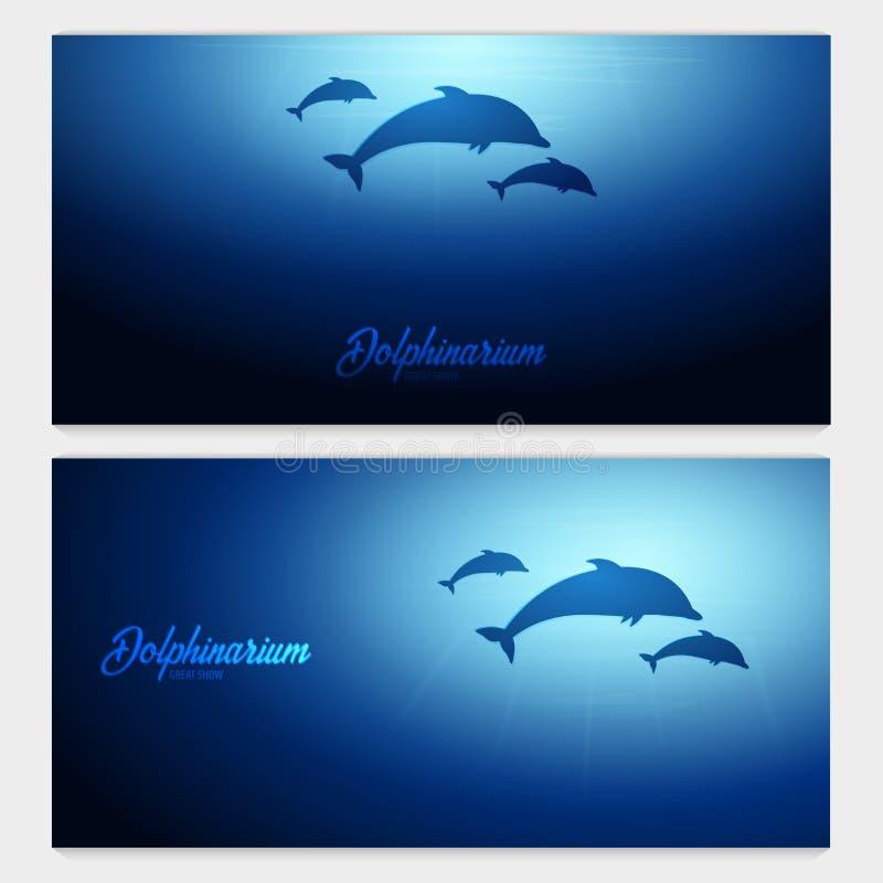 Podwodny tło z słońce promieniami i sylwetką delfin Głębokiego oceanu sztandar kolor plażowej dziewczyny ilustracyjny magazyn czy royalty ilustracja