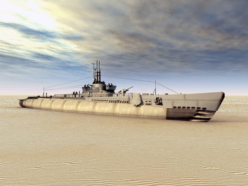 Podwodny USS cyngiel na Suchym ilustracja wektor