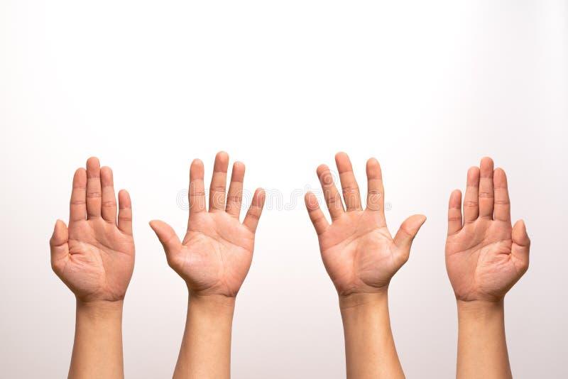 Podwyżki ręka up, opuszczać i prawa ręka, podwyżka odizolowywa na białych tło w cztery akci obrazy royalty free