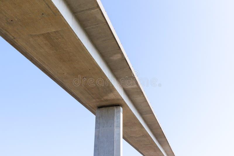 Podwyższony betonowej drogi most z prostym niebieskim niebem spod spodu fotografia royalty free