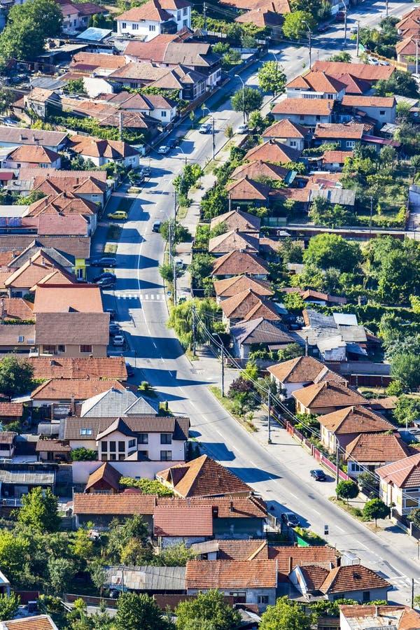 Podwyższony uliczny widok w Deva, Rumunia fotografia royalty free