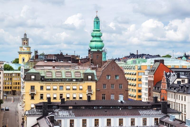 Podwyższony widok Sodermalm Sztokholm, Szwecja obrazy royalty free