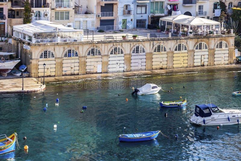 Podwyższony widok Spinola zatoka przy St Julian, Malta fotografia royalty free