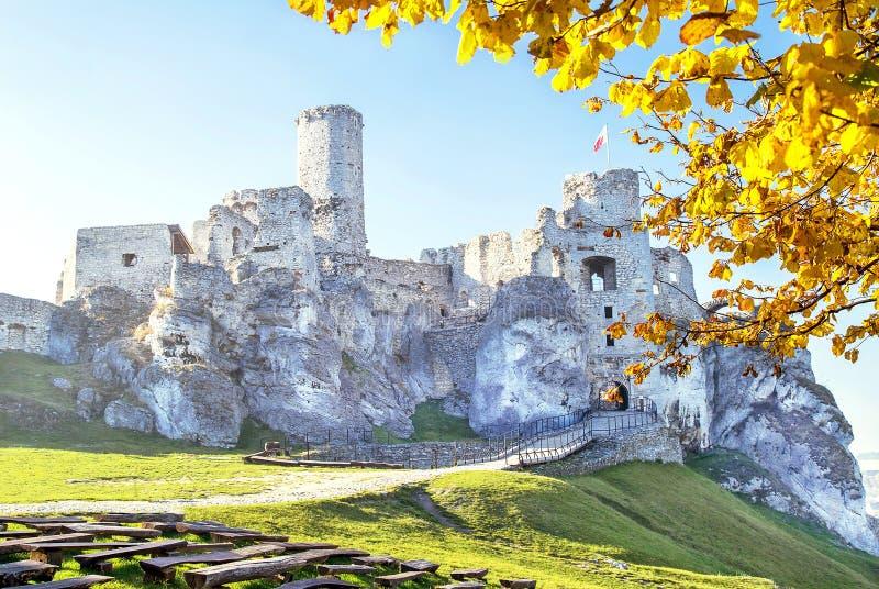 Podzamcze, Polen - 31. Oktober 2015: Malerische Ansicht von Ogrodzieniec-Schloss im Herbst lizenzfreies stockbild