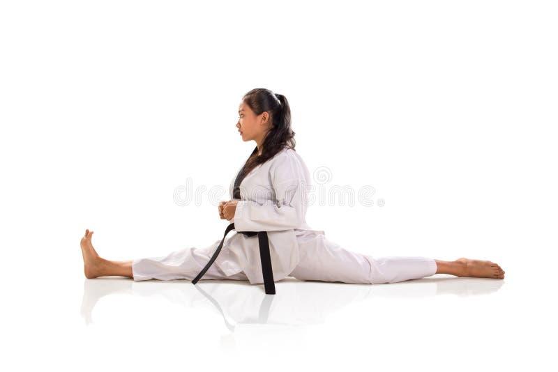 Split tae-kwon-do girl profil boczny odizolowany zdjęcia royalty free