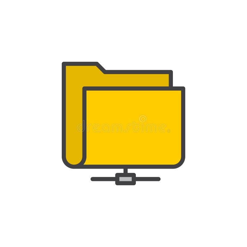 Podzielona sieci falcówki linii ikona, wypełniający konturu wektoru znak, liniowy kolorowy piktogram odizolowywający na bielu ilustracja wektor