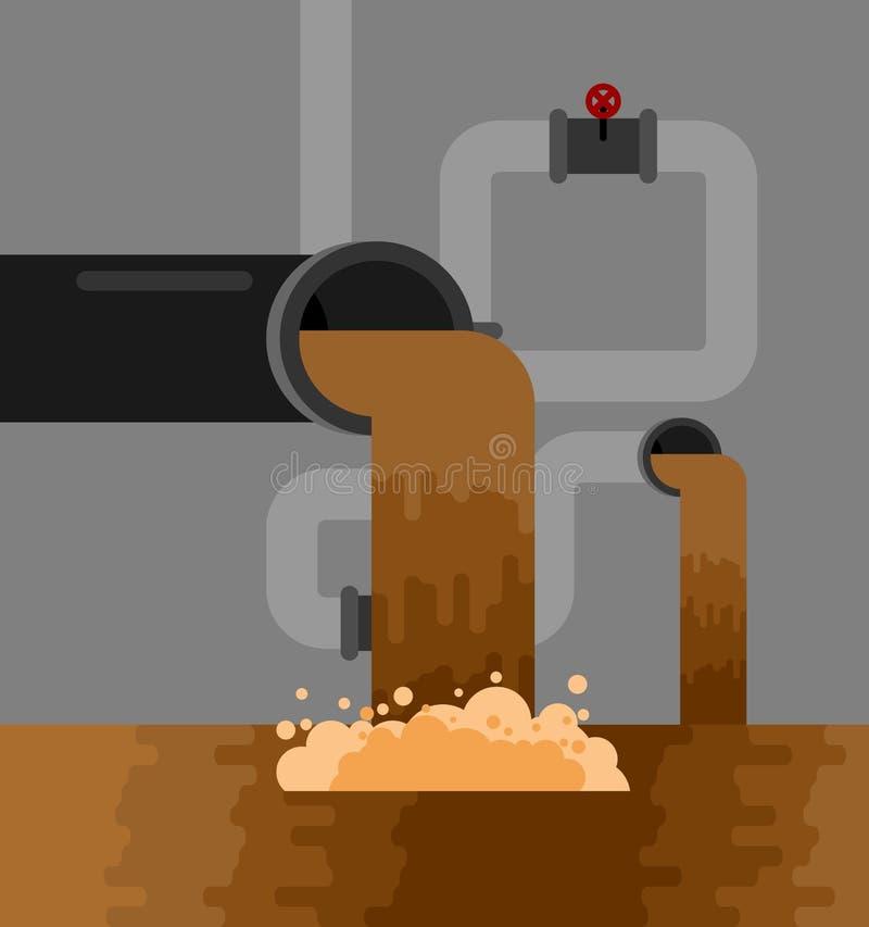 Podziemna kanalizacja systemu drymba Dostawy wody i sanaci Se ilustracji