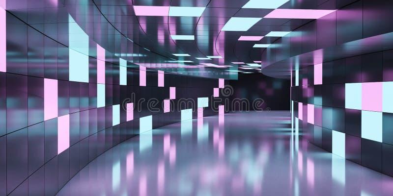 Podziemne korytarze z nowoczesnym abstrakcyjnym niebieskim i karmazynowym oświetleniem tła 3d renderują ilustrację ilustracji
