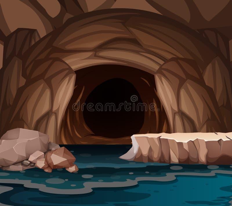 Podziemny cavern z jeziorem royalty ilustracja