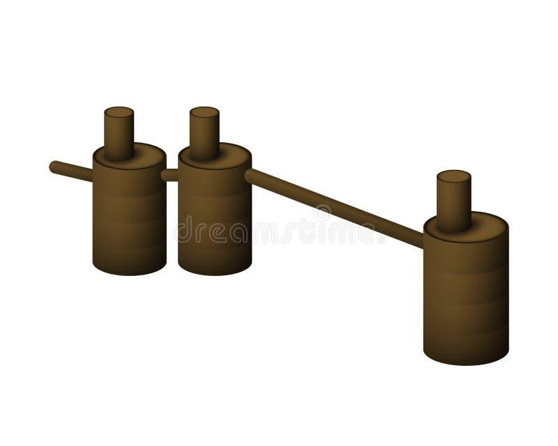 Podziemny septyczny zbiornik Systemu chodnikowiec drenować ściek ilustracja wektor